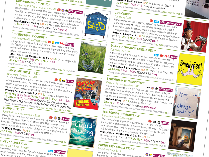 Artworker create print ready PDF for Brighton Festival Brochure