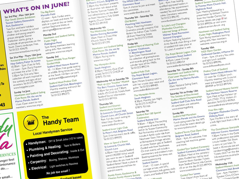 Magazine what's on guide layout by Freelance Artworker