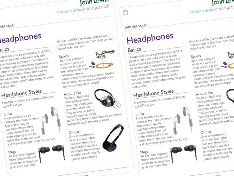 Strict design brand guidelines for John Lewis product learning guides by Freelance Artworker Sarahjane Jackson Brighton