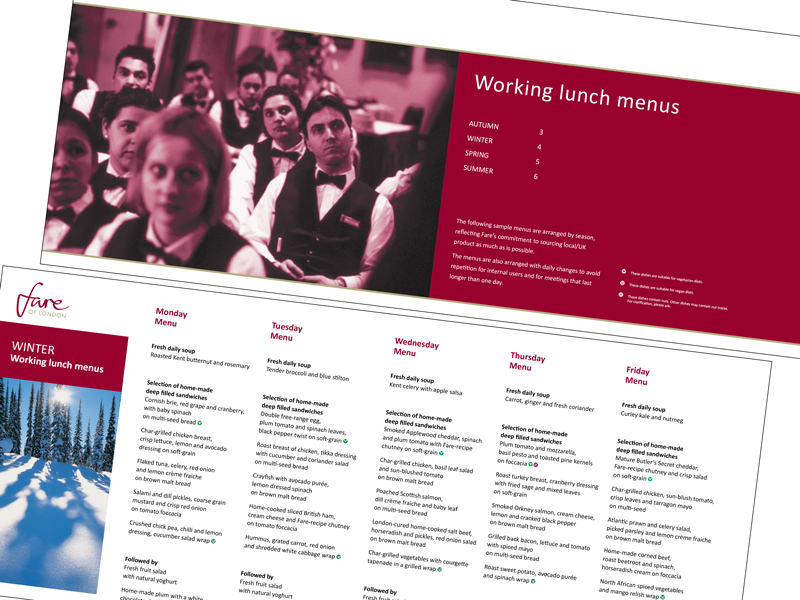 Menu design layout