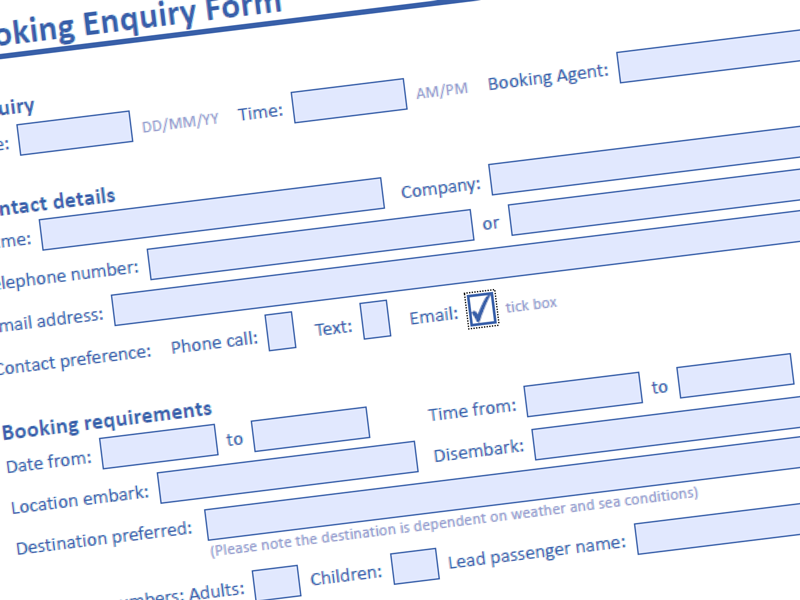Interactive PDF booking form design by Freelance Artworker inBrighton