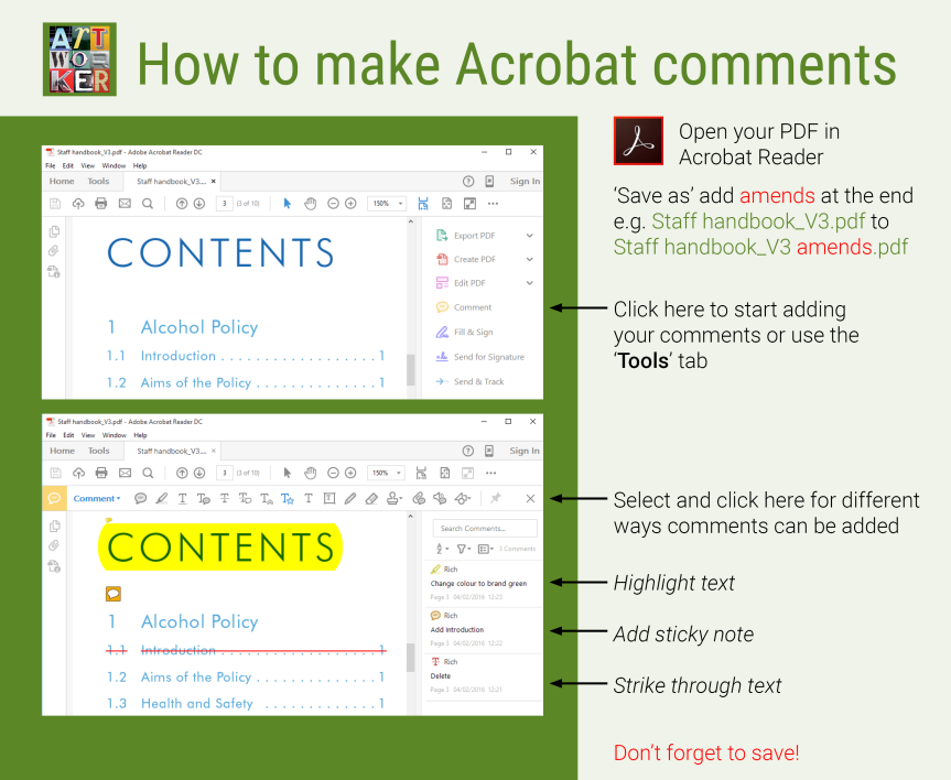 Acrobat comments are the quickest way to highlight artwork amends